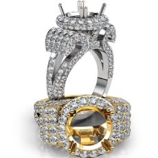 Round Diamond Engagement Ring Antique & Vintage Halo Pave Semi Mount 18k Gold White  (3.5Ct. tw.)