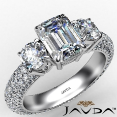 Emerald diamond engagement Ring in 14k Gold White