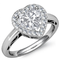 Halo Sidestone Filigree Heart diamond engagement Ring in 14k Gold White