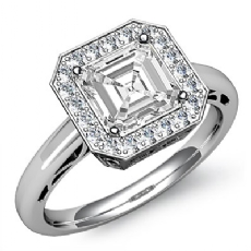 Halo Sidestone Filigree Asscher diamond engagement valentine's deals in 14k Gold White