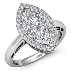 Halo Sidestone Filigree Marquise diamond engagement Ring in 14k Gold White