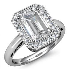 Halo Sidestone Filigree Emerald diamond engagement Ring in 14k Gold White
