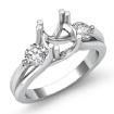 Three 3 Stone Round Diamond Engagement Ring 14k White Gold Semi Mount Setting 0.5Ct - javda.com