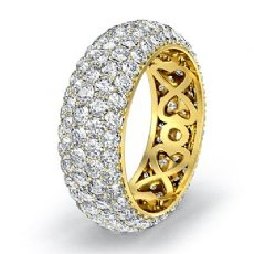 18k Gold Yellow Women Wedding Eternity Ring Round Diamond Engagement Band  (3.95Ct. tw.)