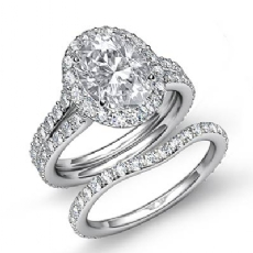 Halo Pave Wedding Bridal Set Oval diamond engagement Ring in 14k Gold White