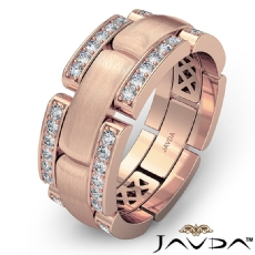 Micro Pave Chain Link Men's Diamond Eternity Wedding Band 14k Rose Gold  (0.75Ct. tw.)