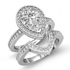 Circa Halo Bridal Set Pear diamond engagement Ring in 14k Gold White