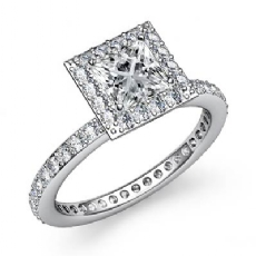 Halo Pave Setting Eternity Princess diamond engagement Ring in 14k Gold White