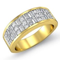 Princess Baguette Invisible Set Diamond Women Wedding Band 14k Gold Yellow  (1.5Ct. tw.)