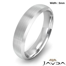 Dome Men's Wedding Band 14k White Gold Beveled Edge Solid Ring 5mm 5.8g 9 size