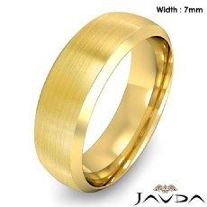 Dome Men's Wedding Band 14k Gold Yellow Beveled Edge Solid Ring 7mm 8.3g 8
