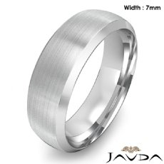 Dome Men's Wedding Band 14k White Gold Beveled Edge Solid Ring 7mm 8.7g 9 size