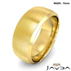 Dome Men's Wedding Band 14k Gold Yellow Beveled Edge Solid Ring 9mm 11.6g 8