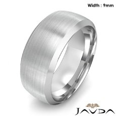 Dome Men's Wedding Band 14k Gold White Beveled Edge Solid Ring 9mm 11.6g 8
