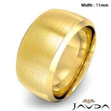 Dome Men's Wedding Band 18k Gold Yellow Beveled Edge Solid Ring 11mm 17.6g 8