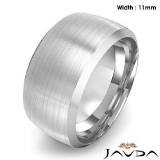 Dome Men's Wedding Band 14k White Gold Beveled Edge Solid Ring 11mm 15.8g 9 size