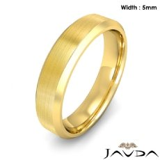 Flat Beveled Edge Men's Wedding Band 14k Gold Yellow Solid Ring 5mm 6.6g 8