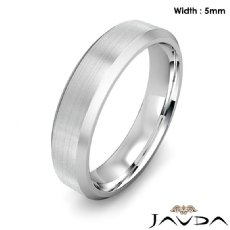 Flat Beveled Edge Men's Wedding Band 14k White Gold Solid Ring 5mm 6.9g 9 size