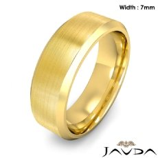 Flat Beveled Edge Men's Wedding Band 14k Gold Yellow Solid Ring 7mm 9.9g 8