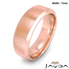 Flat Beveled Edge Men's Wedding Band 14k Rose Gold Solid Ring 7mm 9.9g 8
