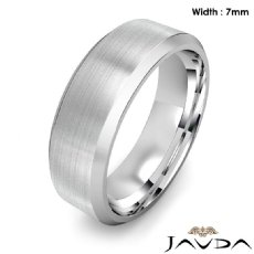 Flat Beveled Edge Men's Wedding Band 14k Gold White Solid Ring 7mm 9.9g 8