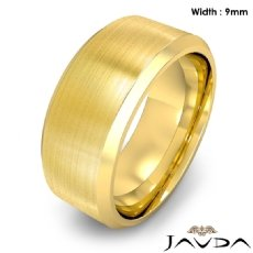 Flat Beveled Edge Men's Wedding Band 18k Gold Yellow Solid Ring 9mm 15.7g 8