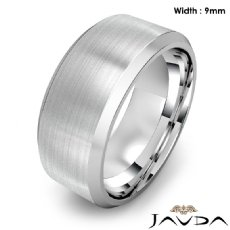 Flat Beveled Edge Men's Wedding Band 14k Gold White Solid Ring 9mm 13.6g 8