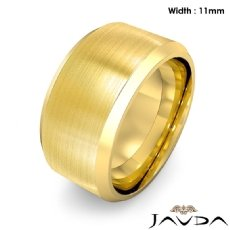 Flat Beveled Edge Men's Wedding Band 18k Gold Yellow Solid Ring 11mm 20.2g 8