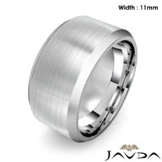 Flat Beveled Edge Men's Wedding Band 14k White Gold Solid Ring 11mm 18.1g 9 size