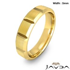 Beveled Edge Men's Dome Wedding Band 14k Gold Yellow Solid Ring 5mm 6.3g 8