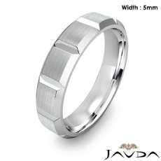 Beveled Edge Men's Dome Wedding Band 14k Gold White Solid Ring 5mm 6.3g 8
