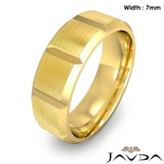 Beveled Edge Men's Dome Wedding Band 14k Gold Yellow Solid Ring 7mm 9.5g 8