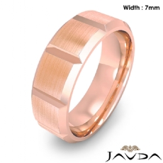 Beveled Edge Men's Dome Wedding Band 14k Rose Gold Solid Ring 7mm 9.5g 8