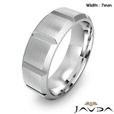 Beveled Edge Men's Dome Wedding Band 14k Gold White Solid Ring 7mm 9.5g 8
