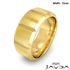 Beveled Edge Men's Dome Wedding Band 14k Gold Yellow Solid Ring 9mm 13g 8