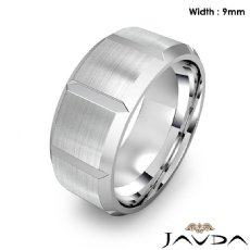 Beveled Edge Men's Dome Wedding Band 14k White Gold Solid Ring 9mm 13.6g 9 size