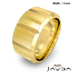 Beveled Edge Men's Dome Wedding Band 14k Gold Yellow Solid Ring 11mm 16.9g 8