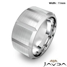 Beveled Edge Men's Dome Wedding Band 14k White Gold Solid Ring 11mm 17.6g 9 size