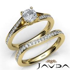 Classic Sidestone Bridal Set Cushion diamond engagement Ring in 14k Gold Yellow