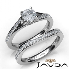 Classic Sidestone Bridal Set Cushion diamond engagement Ring in 14k Gold White