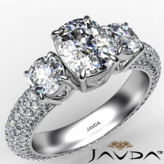 Micropave Shank Three Stone Cushion diamond engagement Ring in 14k Gold White