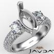 Three 3 Stone Marquise Diamond Engagement Ring 14k White Gold Semi Mount 2.25Ct - javda.com