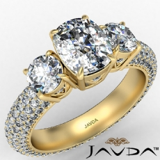 Micro Pave Set Three Stone diamond Ring 14k Gold Yellow