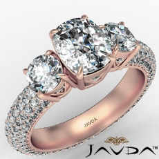 Cushion diamond engagement Ring in 14k Rose Gold