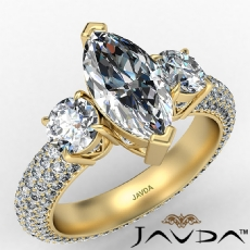 Micro Pave Set Three Stone Marquise diamond engagement Ring in 14k Gold Yellow