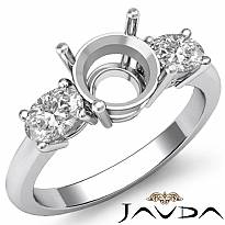 Diamond Three 3 Stone Engagement Oval Round Ring Semi Mount 14k White Gold 1/2Ct