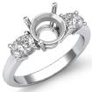 Diamond Three 3 Stone Engagement Oval Round Ring Semi Mount 14k White Gold 0.5Ct - javda.com