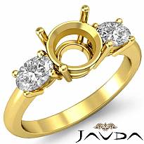 Diamond Three 3 Stone Engagement Oval Round Ring Semi Mount 18k Gold Yellow  (0.5Ct. tw.)