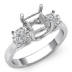 Diamond Three Stone Engagement Ring setting 14k White Gold Princess Semi Mount 0.6Ct - javda.com