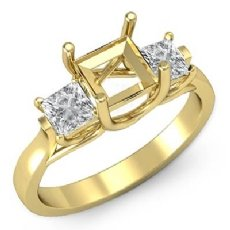 Diamond Three Stone Engagement Ring setting 18k Gold Yellow Princess Semi Mount  (0.6Ct. tw.)